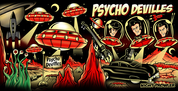 "Front and Back Cover of Psycho Devilles new album ""Night Prowler"", created by BwanaDevil"