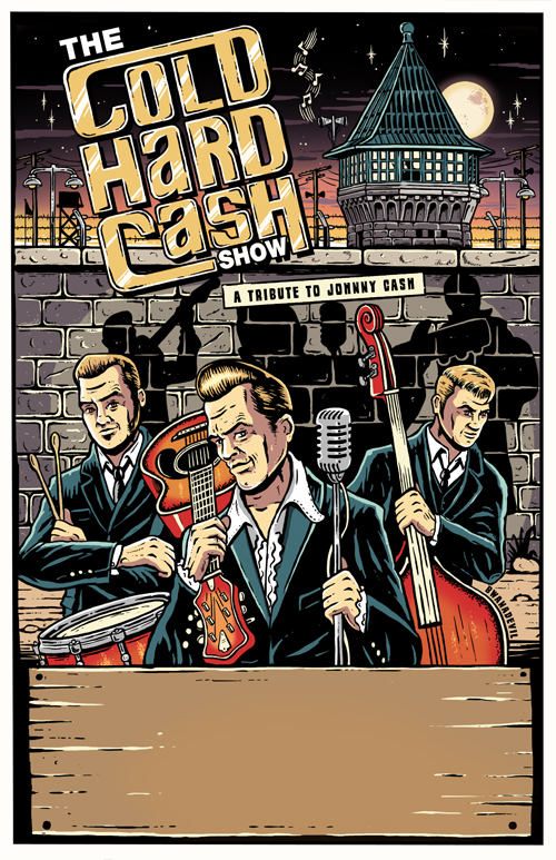 flyer design by BwanaDevil for The Cold Hard Cash Show, Montana, Johnny Cash, cash, the man in black, folsom prison, folsom, rockabilly, illustracion, encargos, arte, prision, carcel, psychobilly, poster, diseños para bandas, cartel concierto, logotipo, lowbrow art, design for bands