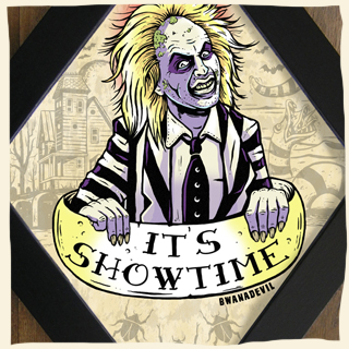 Beetlejuice. It's showtime diamond framed art by BwanaDevil . beetlejuice, bitelchus, tim burton, it's showtime, michael keaton, winona rider, terror, halloween, horror art, custom art, psychobilly, lowbrow art, beetlegeuse, horror classics, halloween art, horror decor, gothic, rock and roll, wood frame, diamond framed print, diamond frame, bwanadevil art, tattoo art, showtime, beetlejuice art