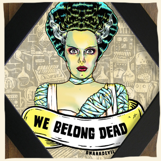 Bride of Frankenstein. We Belong dead diamond framed art by BwanaDevil Art. frankenstein, elsa lanchaster, the bride, we belong dead, she's alive, love, frankenstein lab, monster, universal monsters, psychobilly, rockabilly, art, commission work, horror art, horror decor, halloween art, tattoo art, lowbrow art, wood frame, handmade frame, spain, madrid, terror, custom art, classic horror, classic monsters, bwanadevil art, diamond frame, framed art, framed illustration, bwanadevil art