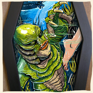 Creature from the Black Lagoon coffin framed art by Bwanadevil Art. creature, black lagoon, monster art, classic monsters, universal monsters, horror night, fifties, horror art, horror decor, psychobilly, rockabilly, horrorbilly, home decor, custom art, tattoo art, bwanadevil art, horror illustration, classic horror, commission work, vintage, horror classics,coffin framed lowbrow art, horror fanatic, horror fan, horror, black lagoon,  horror illustration, horror calssics, horror movie art, bwanadevilart, framed horror art