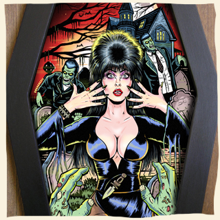 Elvira mistress of the dark  coffin framed art by Bwanadevil Art. Elvira, Cassandra Peterson scream queen, horror queen, horror night, horror pinup, horror lady, horror art, horror decor, gothic, gothic lady, gothic art, gothic girl, psychobilly, rockabilly, horrorbilly, home decor, custom art, framed tattoo, tattoo art, bwanadevil art, horror illustration,elvira art art, classic horror, zombie art, zombie,  commission work, vintage, horror classics, diamond frame, lowbrow art, graveyard, horror illustration