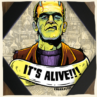 Frankenstein Monster. We Belong dead diamond framed art by BwanaDevil Art. frankenstein, elsa lanchaster, the bride, we belong dead, victor frankenstein, it's alive, love, frankenstein lab, monster, universal monsters, psychobilly, rockabilly, art, commission work, horror art, horror decor, halloween art, tattoo art, lowbrow art, wood frame, handmade frame, spain, madrid, terror, custom art, classic horror, classic monsters, bwanadevil art, frankenstein art, dead, boris karloff, psycho,