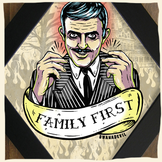 Gomez Addams. Family first diamond framed art by BwanaDevil Art. Gomez Addams, the addams family, addams family, morticia addams, gomez and morticia, the addams family show, tv show, cara mia mon amour, family first, john astin, horror art, horror decor, halloween art, tattoo art, lowbrow art, wood frame, handmade frame, spain, madrid, terror, custom art, family values, classic horror, framed art, classic monsters, rockabilly, psychobilly, bwanadevil art, framed art, framed print, diamond frame