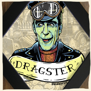Herman Munster. Dragster diamond framed art by BwanaDevil. Herman munster, the munsters show, munster family, dragster, hot rod, illustration, rat rod, lily munster, monster, monster art, monster illustration, classic monster, leather jacket, greaser, rockabilly, psychobilly, terror, horror art, horror decor, lowbrow art, home decor, the munsters illustration, the munsters art, diamond frame, wood frame, made in spain, madrid, graveyard, halloween art, psychobilly art, custom art, yvonne de carlo, bwanadevil art, herman munster art, munster love