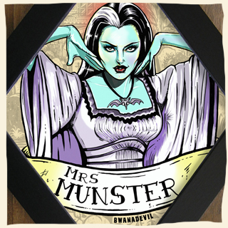 Lily Munster diamond framed art by BwanaDevil. Herman munster, the munsters tv show, munster family, dragster, hot rod, hot rod illustration, rat rod, lily munster, monster, classic monster, lily monster art, lily monster illustration, rockabilly, psychobilly, terror, horror art, horror decor, lowbrow art, home decor, the munsters illustration, the munsters art, diamond frame, wood frame, made in spain, madrid, graveyard, halloween art, psychobilly art, custom art, yvonne de carlo, bwanadevil art, herman munster art, munster love, monster lovers, horror geeks