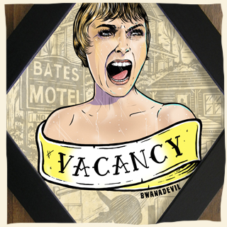Marion Crane from Alfred Hitchcock's Psycho. Vacancy diamond framed art by BwanaDevil. Marion Crane, Janet Leigh, psycho, Alfred Hitchcock, bates motel, psycho shower scene, psycho art, norman bates, anthony perkins, motel bates illustration, horror movie, horror classics, classic horror movie, diamond frame, horror art, psychobilly art, bwanadevil art, psycho illustration, alfred hitchcock art, vacancy, framed art, hand made, low brow art, tattoo art, horror decor, home decor, terror, horror addicts, horror geek, halloween art, serial killer art, spain, madrid, made in spain