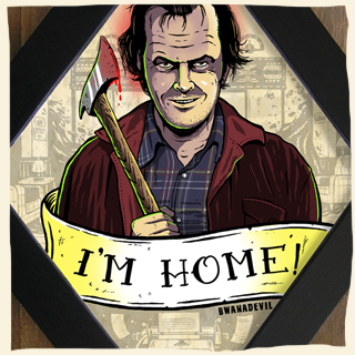 Jack Torrance.The Shining diamond framed art by BwanaDevil Art. The shining, stephen king, stanley kubrick, jack nicholson, horror movie, redrum, overlook hotel, wendy i'm home,  horror art, horror decor, halloween art, tattoo art, lowbrow art, wood frame, handmade frame, spain, madrid, terror, custom art, family values, classic horror, framed art, classic horror movie, horror fanatic, horror geek, writer, killer,  bwanadevil art, framed art, framed print, diamond frame