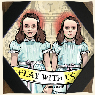 The Shining twins. play with us danny diamond framed art by BwanaDevil Art. The shining, stephen king, stanley kubrick, jack nicholson, horror movie, evil twins, horror girls, evil girl,  redrum, overlook hotel, wendy i'm home,  horror art, horror decor, halloween art, tattoo art, lowbrow art, wood frame, handmade frame, spain, madrid, terror, custom art, family values, classic horror, framed art, classic horror movie, horror fanatic, horror geek, writer, killer,  bwanadevil art, framed art, framed print, diamond frame