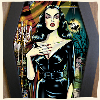 Vampira coffin framed art by Bwanadevil Art. Vampira, maila nurmi, scream queen, horror queen, horror night, horror pinup, gothic art, goth girl, gothic girl, gothi, gothic art, dark girl, fifties, ed wood, vampira show, horror lady, horror art, horror decor, psychobilly, rockabilly, horrorbilly, home decor, custom art, framed tattoo, tattoo art, bwanadevil art, horror illustration, vampira art, frankenstein art, classic horror, commission work, vintage, horror classics, diamond frame, lowbrow art, graveyard, horror illustration